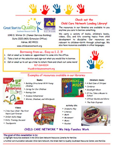 childcare newsletter templates child care lenawee great start