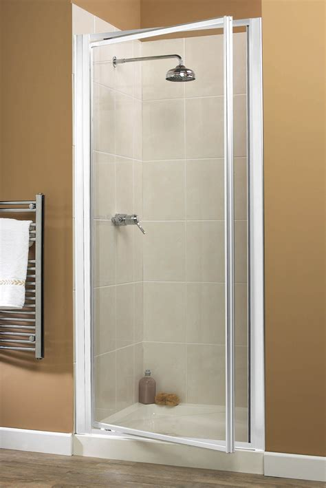 Aqualux Shower Doors Aqualux Aquarius Xtra Devit 800mm Pivot Shower Door White Frame Tewp