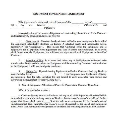 consignment shop contract template sle consignment agreement 7 documents in pdf word