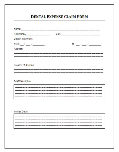 Sle Dental Expense Claim Form This Form Can Be Procured From The Human Resource Department Claim Form Template