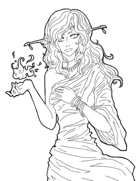 forest elf coloring pages elven lady outline by giveortake on deviantart