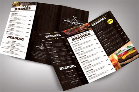 restaurant menu modern brochure templates on creative market