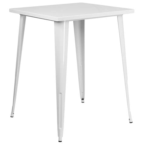 square bar height table 31 5 square bar height white metal indoor outdoor table