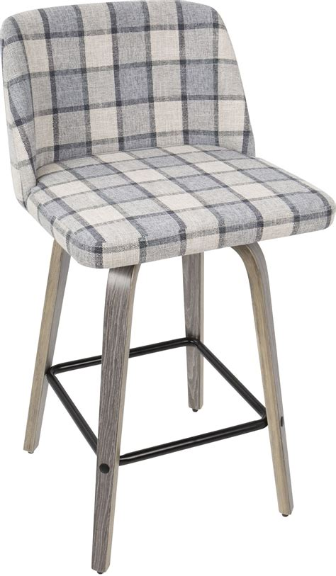 Light Grey Counter Stools by Tintori Light Gray Wood And Gray Plaid Counter Stool From