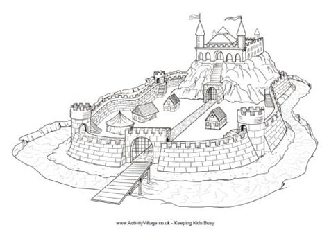 castle moat coloring page motte and bailey castle colouring page to print