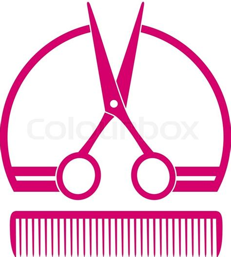 cloud 9 hair logo barbershop icon with scissors and comb stock vector colourbox