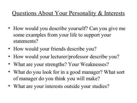 personality questions for interviews 50 likely questions for graduates