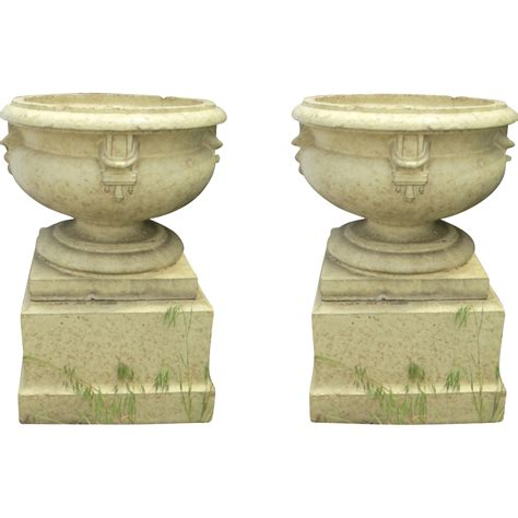 a pair of large glazed terracotta pots for sale antiques pair of large glazed terra cotta urns planters on plinths