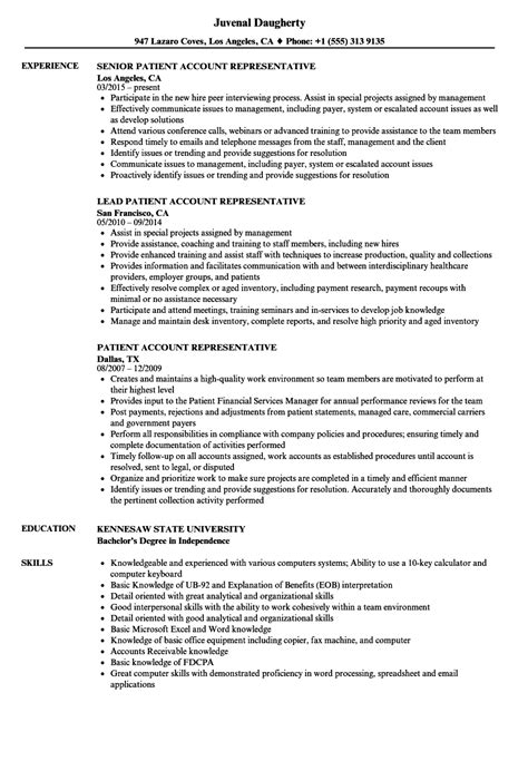 Account Representative Resume by Patient Account Representative Resume Sles Velvet