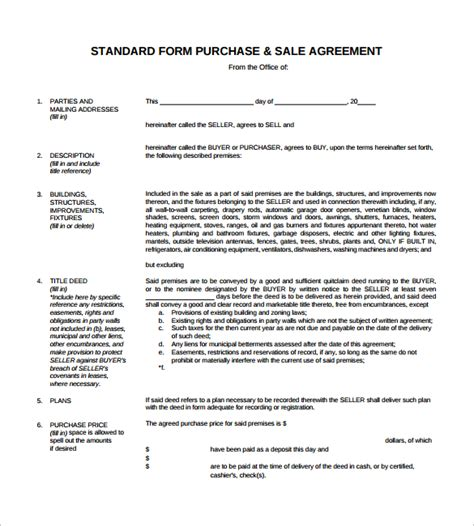 purchase and sale agreement template free sales agreement 12 free documents in word pdf