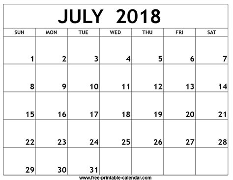 printable calendar 2018 july july 2018 printable calendar