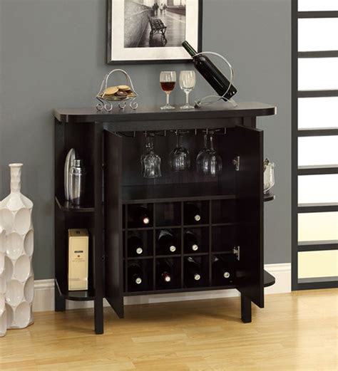 Small Bar Cabinet Furniture Black Forest Compact Bar Cabinet With Side Shelves By Mudra Cabinets Furniture