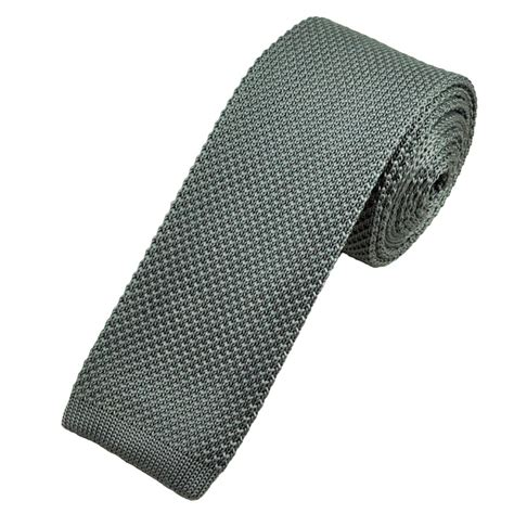 knitted ties plain grey narrow knitted tie from ties planet uk