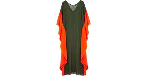chiffon amanda kaftan tkg4280 amanda wakeley papaya and khaki chiffon kaftan in green