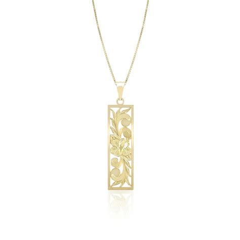 Cutout Pendant 14k yellow gold vertical hibiscus cutout pendant