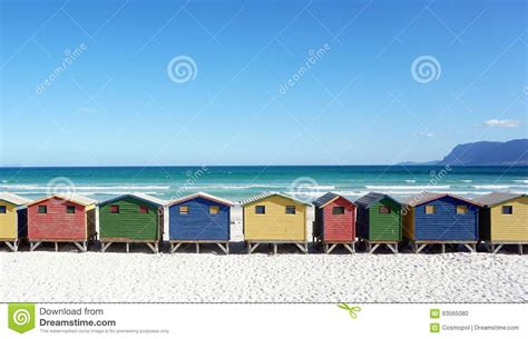colorful beach houses colorful beachhouses south africa cape town stock photo