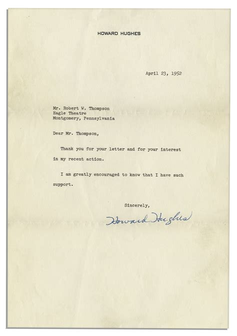 thank you letter after housekeeping lot detail howard hughes typed letter signed after