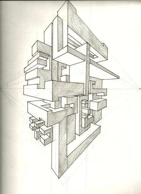 0 Point Perspective Drawing by Two Point Perspective Exercise By Tower015 On Deviantart