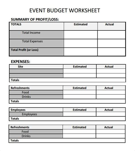 9 event budget templates word excel pdf formats