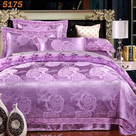 Size Quilt Bedding Sets 2017 Purple Luxury Jacquard Silk Tencel Bedding Sets 4pcs