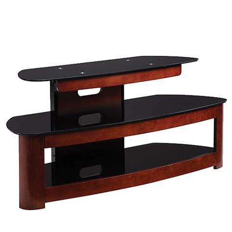 Wood Tv Shelf by Haropa 3 Shelf Wood And Glass 50 In Tv Stand Cherry