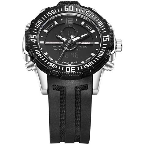 Jam Tangan Pria Black weide jam tangan pria silicone wh6105 black
