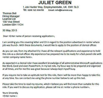 cover letter for a clerical officer seekers forums