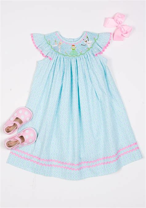 themes for children s clothing frozen themed smocked quot in summer quot bishop dress girls
