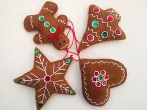 felt gingerbread christmas tree ornaments