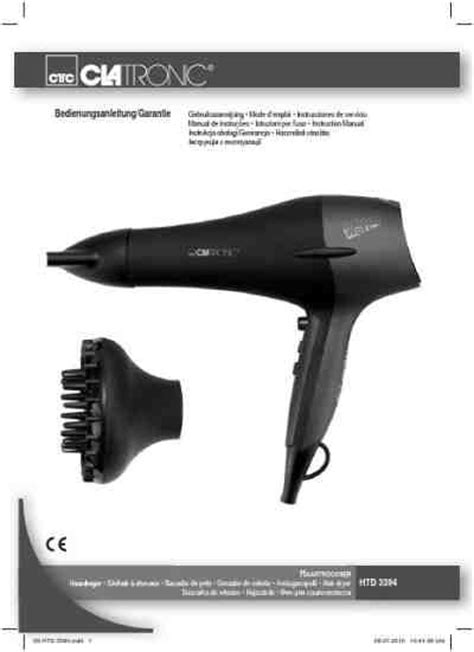 Hair Dryer Manual clatronic htd 3394 hair dryer manual for free now