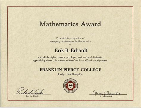 math certificate template mathematics award franklin college 1995 1997