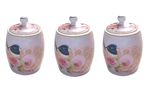 country kitchen canisters country kitchen canisters set of 3 pink blue wren