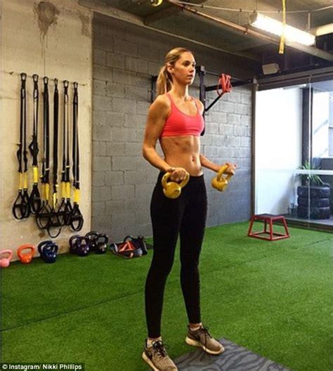nikki phillips doubles  gym time  maintain  bikini