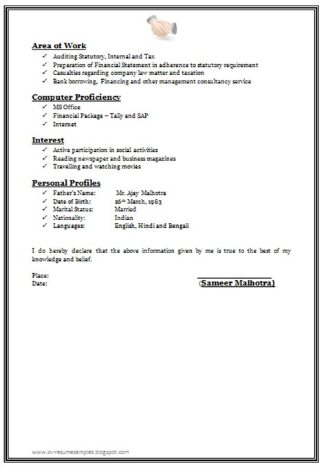 Experience Resume Format Doc 10000 Cv And Resume Sles With Free Professional Chartered Accountant Resume