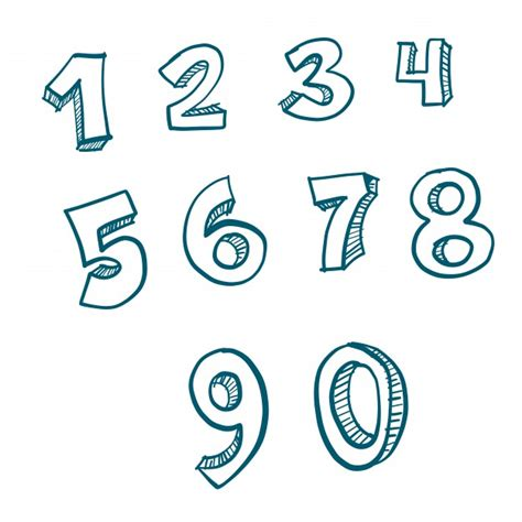 doodle numbers doodle numbers vector free