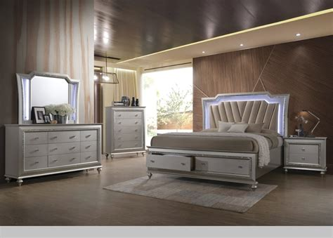 kaitlyn bedroom set  led headboard  pu  champagne finish casye furniture