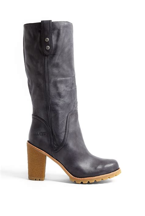 ugg black josie leather knee high boot with gum tread sole
