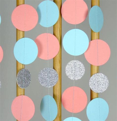 Paper Garland in Tiffany Blue, Coral and Silver, Teal