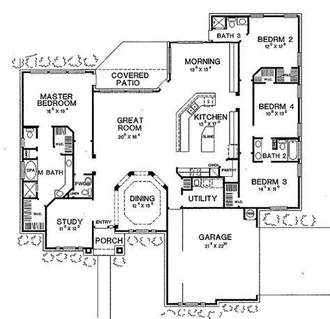 4 bedroom open floor plans four bedroom new american hwbdo60629 new american