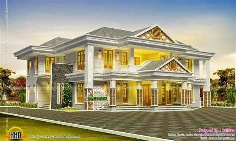 luxurious home plans luxurious sloping roof house kerala home design and