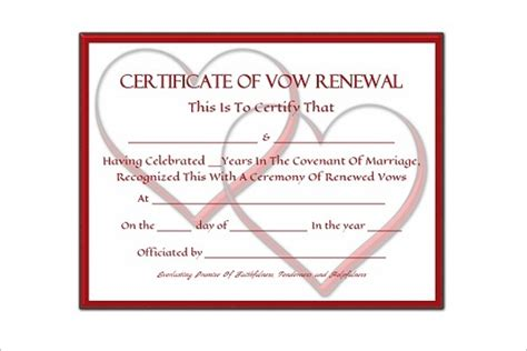 vow renewal certificate template 42 free marriage certificate templates word pdf doc