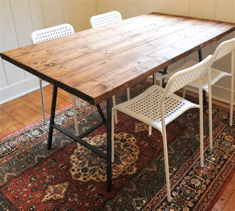 diy dining table ikea legs diy reclaimed wood dining table this and the ikea