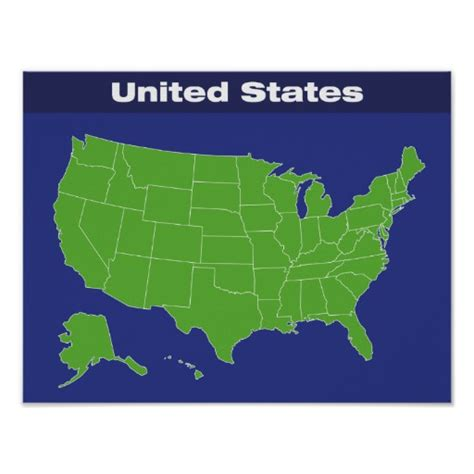 map us states r color map of the united states poster zazzle