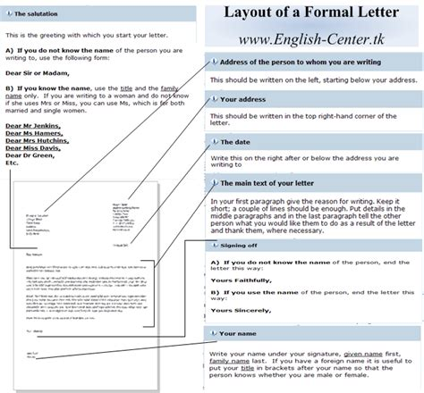 layout of informal letter in english how to start and end a formal letter in english