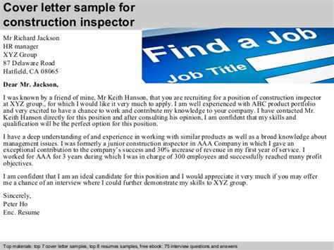Road Inspector Cover Letter by Construction Inspector Cover Letter