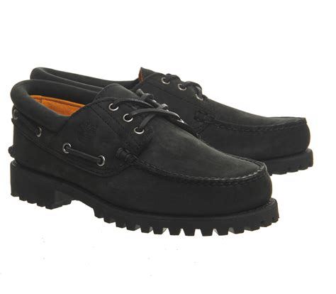 black boat shoes timberland 3 eye classic lug boat shoes in black for men