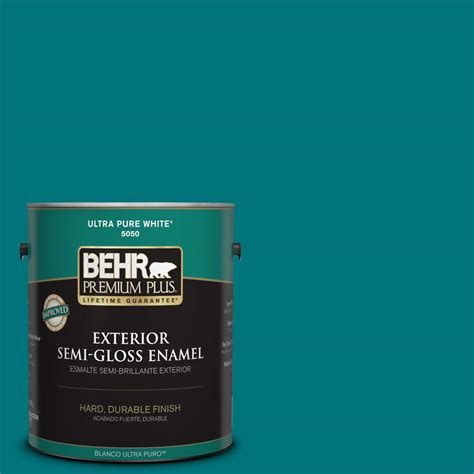 behr premium plus 1 gal t15 3 essential teal zero voc semi gloss enamel interior paint 330001