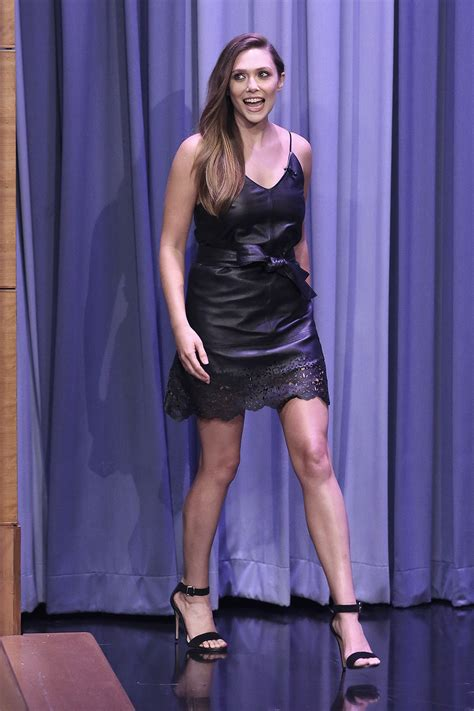 elizabeth olsen attends  tonight show leather celebrities