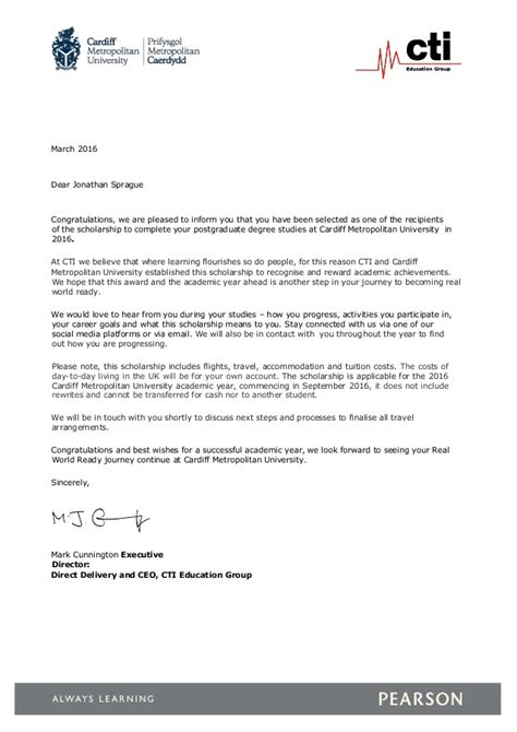 Letter Informing Award Recipient Cti Cardiff Scholarship Letter