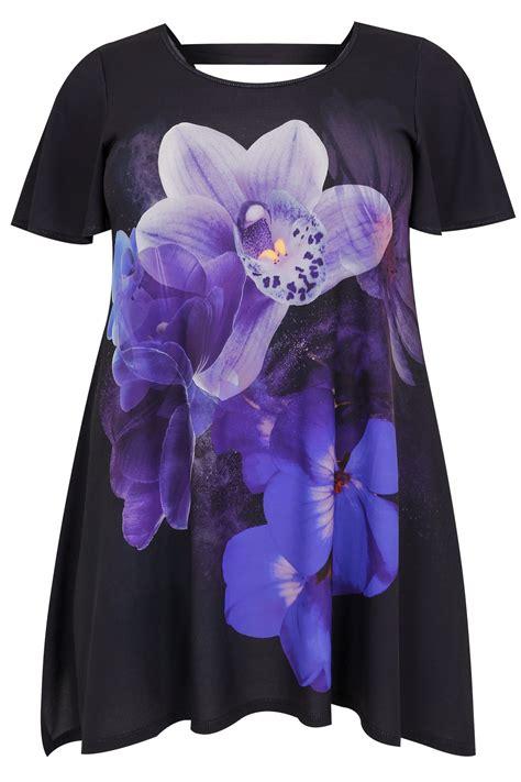 div placement schwarz blau orchidee jersey oberteil mit runden saum